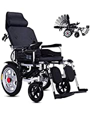 Power Wheelchair Electric Wheelchair, Portable Folding Electric Wheelchair, with Reclining Backrest, Adjustable Headrest And Polymer Lithium Ion Battery, Electronic Braking System, Safe And Secure Sui