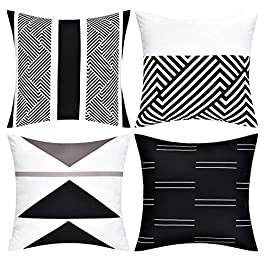 VERTKREA Throw Pillow Covers Modern Geometric Pillowcase Set of 4 Throw Cushion Cover for Bed Couch Sofa Office Decor, 18 × 18 Inches, Black and White