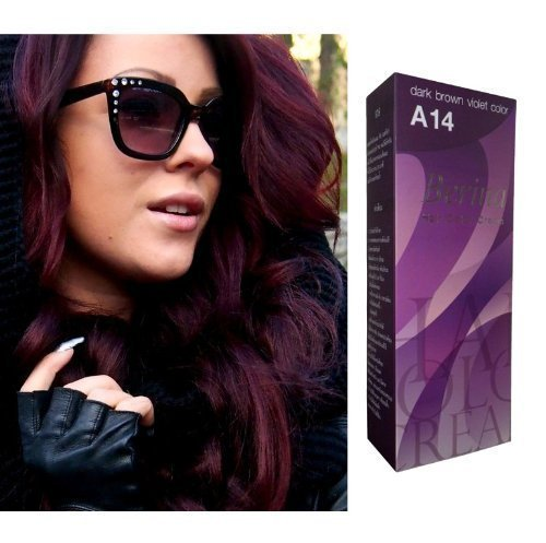 Berina Permanent Hair Dye (A 14) Dark Brown Violet Color Collection Thai 2 Pack