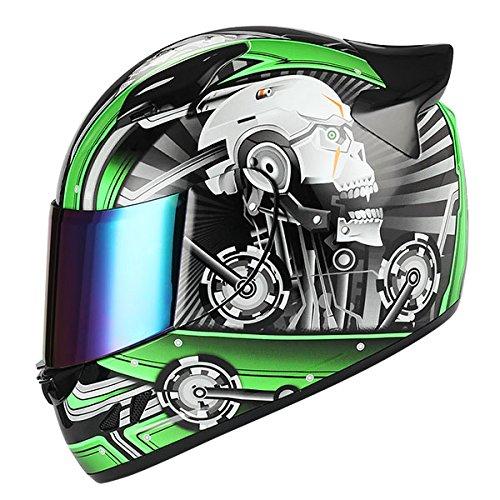 1STORM MOTORCYCLE BIKE FULL FACE HELMET MECHANIC SKULL - Tinted Visor ()