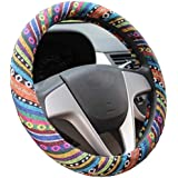 Istn 2016 Ethnic Style Coarse Flax Cloth Automotive Steering Wheel Cover Anti Slip and Sweat Absorption Auto Car Wrap Cover (C)
