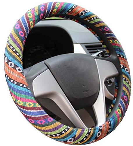 (Istn 2016 Ethnic Style Coarse Flax Cloth Automotive Steering Wheel Cover Anti Slip and Sweat Absorption Auto Car Wrap Cover (C))
