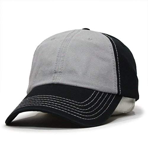 (Classic Washed Cotton Twill Low Profile Adjustable Baseball Cap (Black/Gray/Black))