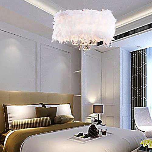RYr Contemporary Lush White Feather Chandelier with 3 Lamps Crystal Drop Selected Pendant Lamp for Living Room Dining Room Bedroom 110-120V