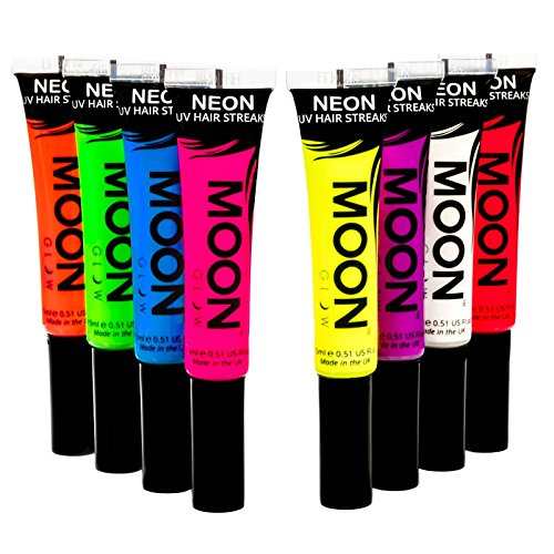 Moon Glow - Blacklight Neon Hair Color Streaks 0.51oz Set of 8 colors – Glows brightly under Blacklights/UV Lighting! by Moon Glow