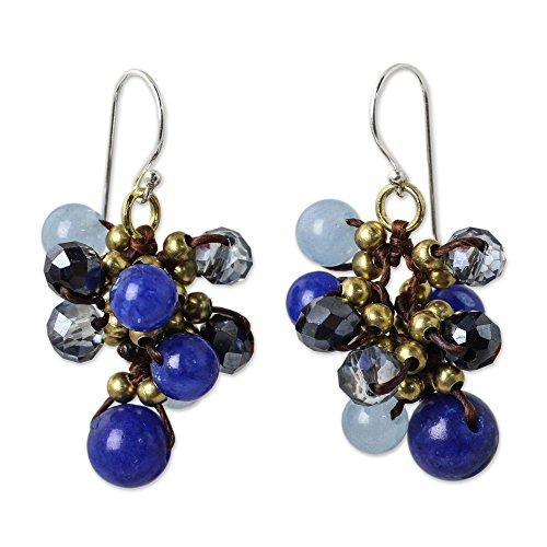 - NOVICA Blue Quartz .925 Sterling Silver Glass Beaded Cluster Earrings 'Blue Cattlelaya'