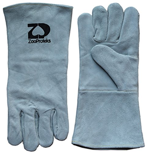 ZaoProteks ZP1704 Cowhide Leather Heat Resistant Welding Gloves Work Gloves  Large ---For Welding  Gardening  Camping  Fireplace  Hearth  Stove  Grill  Barbecue and so on