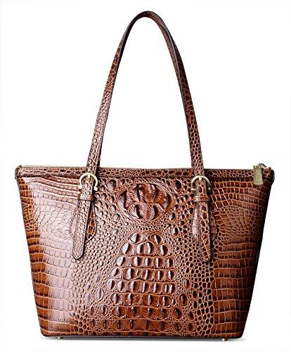 PIFUREN Leather Tote Bag for Women shoulder tote Bag Designer Crocodile Purse Office Satchel Totes (C68726 Brown)