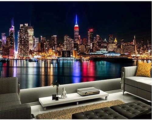 Lcymt カスタム3 D壁画、マンハッタンの高層ビルは夜のリビングルームでテレビの壁の寝室モダンな壁紙-350X250Cm