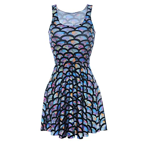 Aoibox Women's Digital Print Sleeveless Pleated Skater Dress Fish scale, One Size, Fish scale (Womens Fish Costumes)