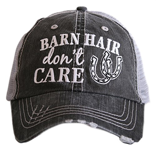 - Barn Hair Don't Care Women's Distressed Grey Trucker Hat (White)