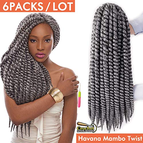Havana Mambo Twist Crochet Hair Braids 6 Packs 18Inches Phoenixfly Gray Kanekalon Senegalese Twist Natural Crochet Hair Afro Braiding Synthetic Hair Extensions 12 Strands/Pack (#Grey)