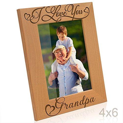 Kate Posh I Love You Grandpa, Grandparent's Day, Best Grandpa Ever, Grandpa & Me, Engraved Natural Wood Picture Frame from Granddaughter, Grandson (4x6-Vertical - Grandpa) -