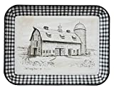Creative Co-Op Rectangle'Old Family Farm' Black & White Enameled Tray