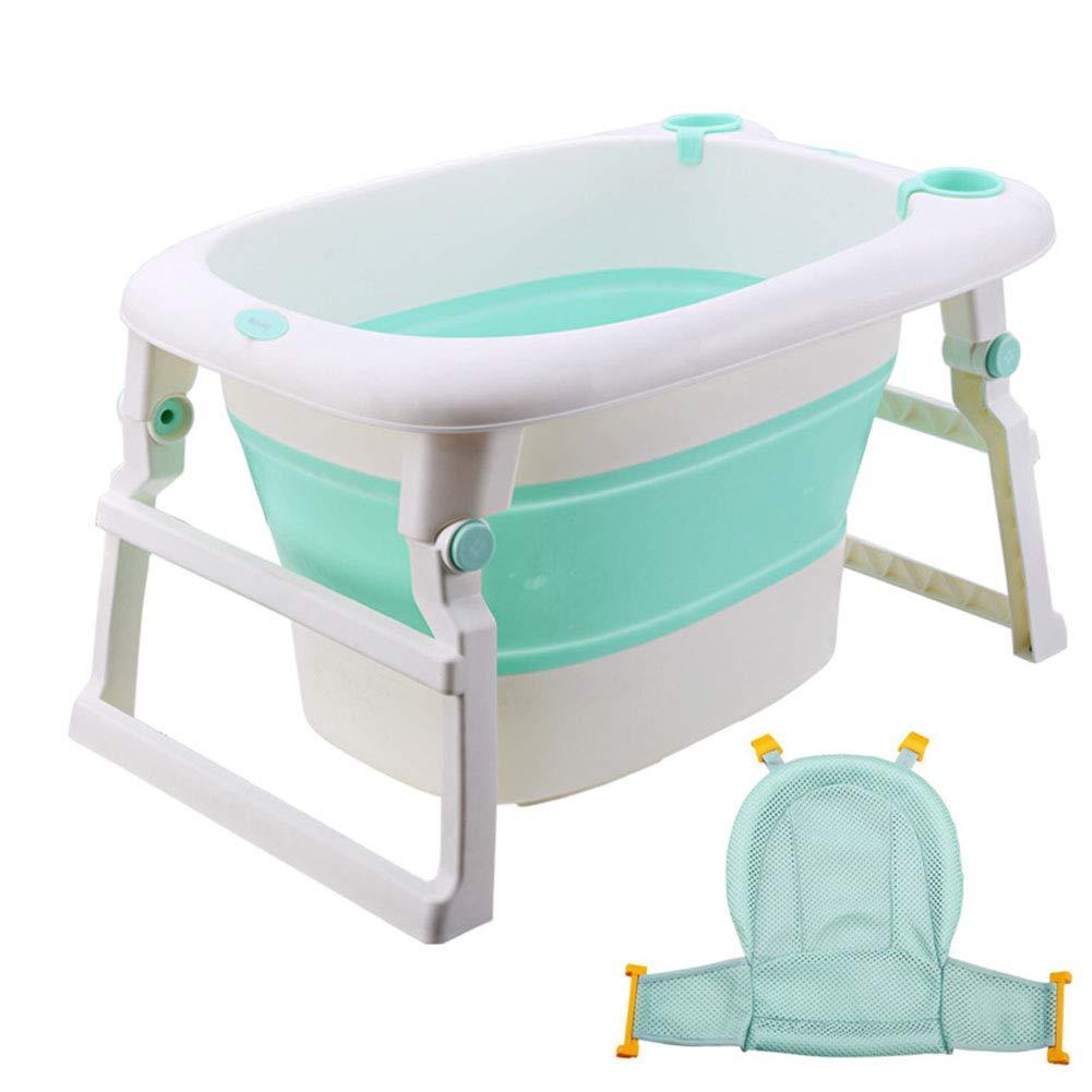 折りたたみベビーバスタブ、ベビータブポータブル折りたたみ新生児ベビーシャワーサポートと滑り止めマット06歳に適した,Green  Green B07SKHZP22