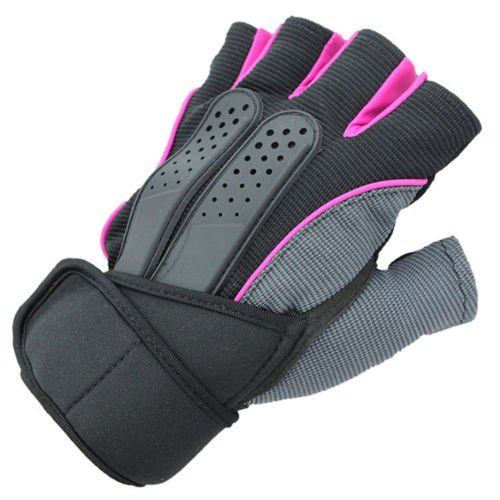 Men Weight Lifting Gym Fitness Workout Training Exercise Half Gloves Pink Size M