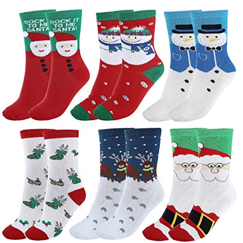 - Ayliss 6Pairs Women's Cute Pattern Colorful Cotton Screw Socks,Christmas Style One Size fit US 5-7.5