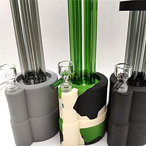 Newest Design 11.7 Inch Silicone Pipes Three Filtration Water Pipe Percolator Glass Tube