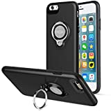 iPhone 6s Plus Case, iPhone 6 Plus Case, ICONFLANG 360 Degree Rotating Ring Kickstand Case Shockproof Impact Protection [Support Magnetic Car Mount Case] for iPhone 6s Plus / 6 Plus (2018) - Black