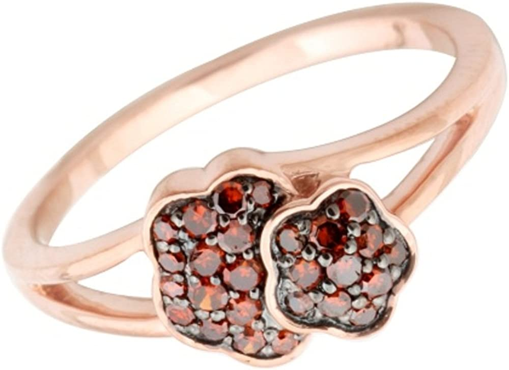 Prism Jewel 0.25 Carat Cognac Diamond Rose Gold Plated Cluster Ring 10k Rose Gold Size 5