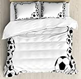Soccer Duvet Cover Set King Size by Ambesonne, Monochrome Football Frame Pattern Abstract Illustration Playing Sports Game, Decorative 3 Piece Bedding Set with 2 Pillow Shams, White Charcoal Grey