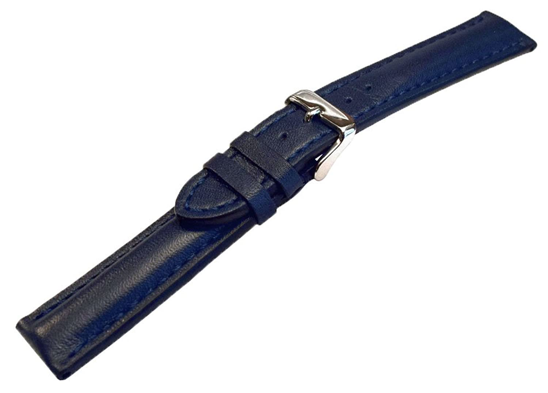 22 mmブルーHeavy Calfskin Leather Watch Band with Matching Stitch  B072F6LXHM