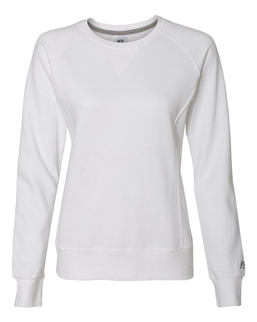Russell Athletic Women's V-Notch Fleece Sweatshirt, White, XL