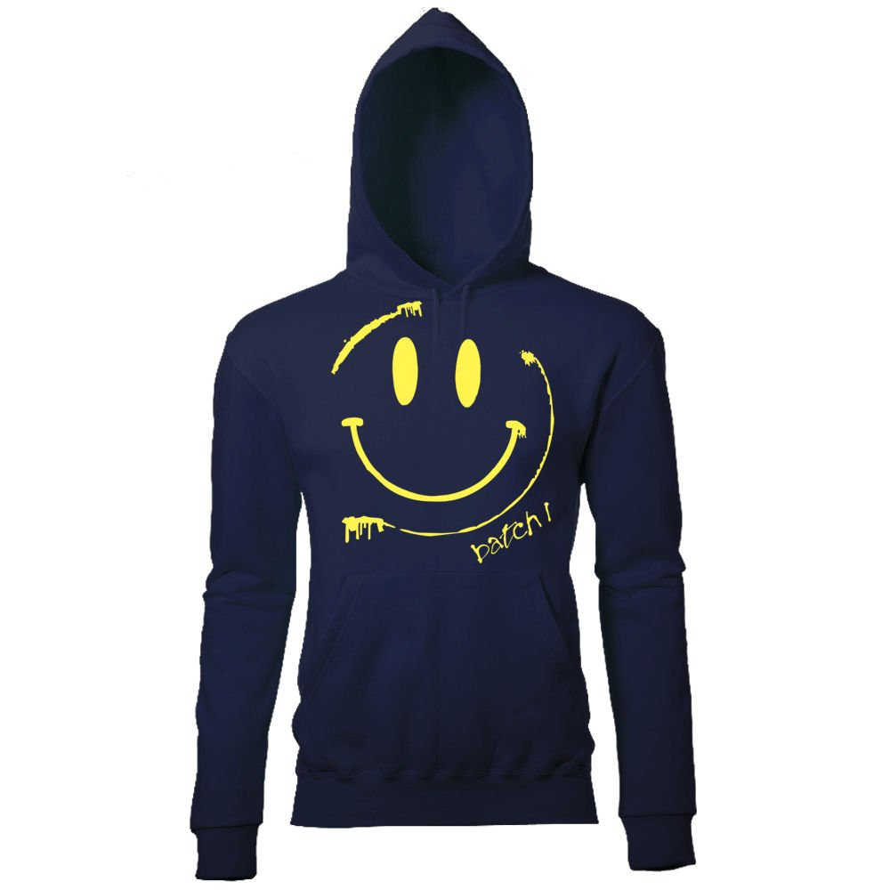 BATCH1 SMILEY ACID FACE MENS RETRO CHIC FESTIVAL PRINTED HOODIE