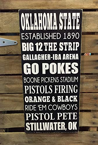 PotteLove Oklahoma State University Hand Wood Sign Subway Style Sports Sign Man Cave Boys Room Decor Customizable