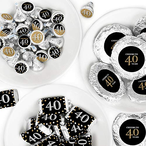 (Adult 40th Birthday - Gold - Mini Candy Bar Wrappers, Round Candy Stickers and Circle Stickers - Birthday Party Candy Favor Sticker Kit - 304 Pieces)