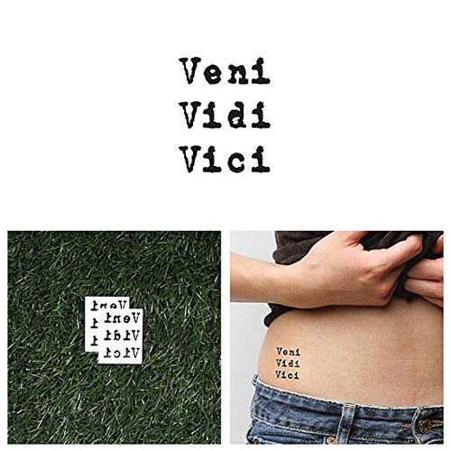 Tattify Veni Vidi Vici Temporary Tattoo   Victorious  Set Of 2    Other Styles Available And Fashionable Temporary Tattoos   Tattoos That Are Long Lasting And Waterproof