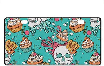 Skull Cakes Front License Plate Decorative Funny Novelty License Plate Frame Cover Vanity Tag Unique Gifts for Men Women ()