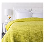 Sweet Dreams Handsomely Woven Marigold Yellow Cotton and Silk Twin Quilt