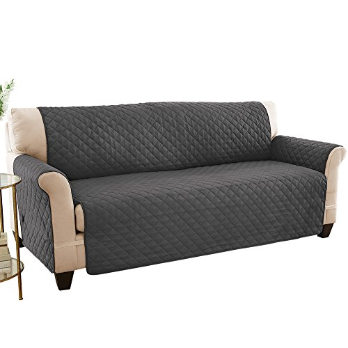 Reversible Spill Resistant Quilted Furniture Protector Cover with Ties - Covers Seat Bottom, Seat Back and 2 Seat Arms, Slate Grey/Silv, Sofa