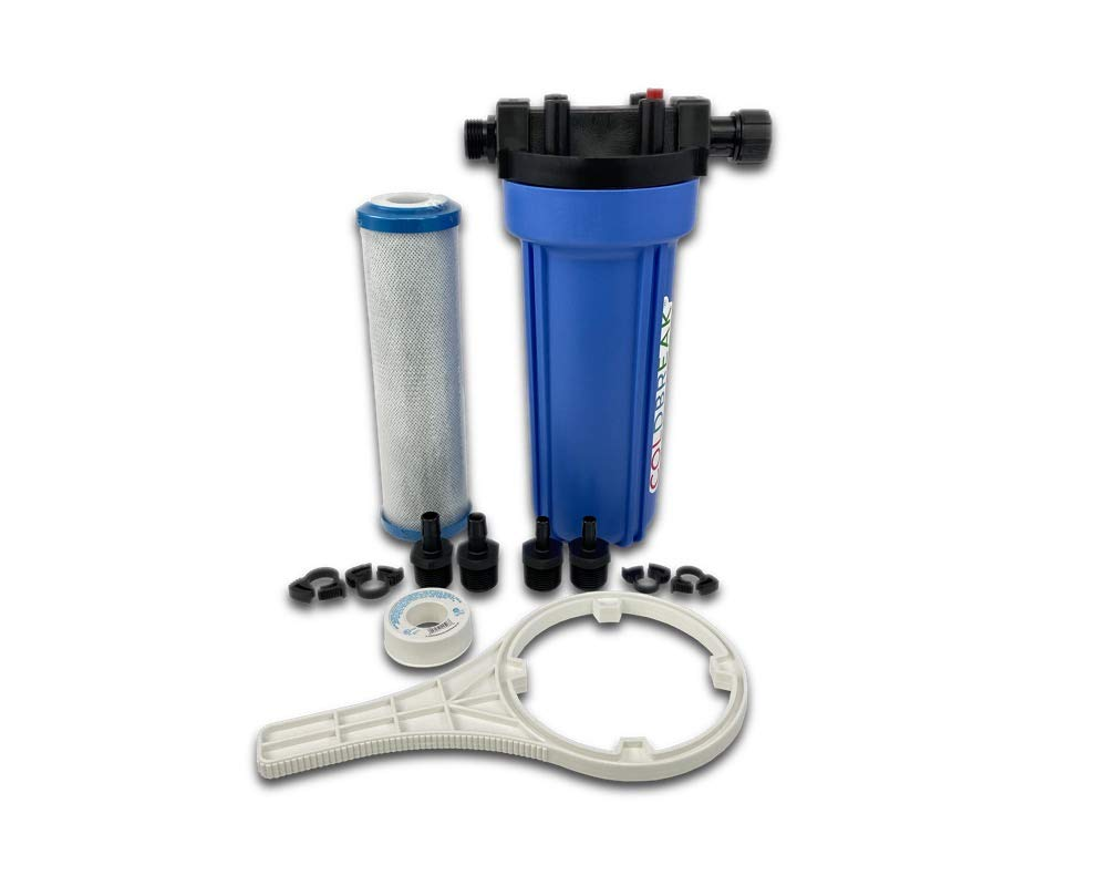 Coldbreak Water Filter Kit, Single Stage, RV and Home Brewing Fittings, Garden Hose Fittings, Barb Fittings, 0.5 Micron Carbon Block Filter