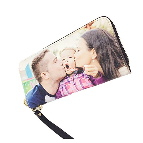 Custom Leather Wallet Double,Single Sided Add Your Own Or Image Purse Zipper Clutch Wallets Coin Purse for Girl Wowen