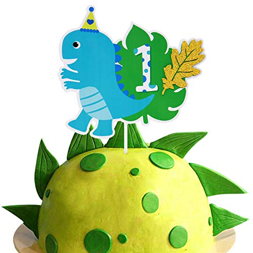 Dinosaur Cake Topper One First 1st Birthday Party Decor Dinosaur Themed Kids Party Supplies Double Sided
