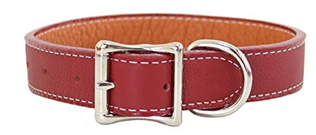 Luxury Italian Leather Tuscany Dog Collar Dark Red 10