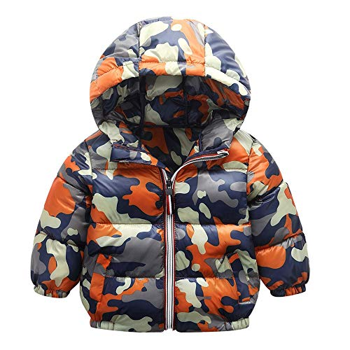 Baby Toddler Boys Girls Winter Warm Bubble Jacket Clothes Kids Camouflage Hooded Coat Outerwear 1-5 Years Old (18-24 Months, Orange)