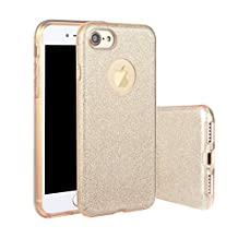 iPhone 6S Bling Case, UCMDA 3D Bling Glitter Shiny Protective Cover, Ultra Thin Sparkle 3 Layer Hybrid with Anti-Scratch Transparent TPU Bumper Back Case for Apple iPhone 6/6S (4.7 inch) - Champagne Gold