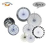 Fiesta Colorful Paper Fans Lantern Round Wheel Disc Design for Party,Event,Wedding Birthday Carnival Home Decorations (Silver, 8 PCS)