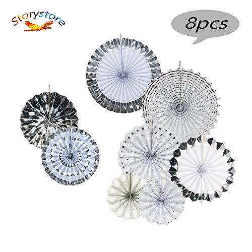 Fiesta Colorful Paper Fans Lantern Round Wheel Disc Design for Party,Event,Wedding Birthday Carnival Home Decorations (Silver, 8 ()