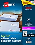 "Avery Address Labels with Easy Peel for Laser Printers, 1"" x 2-5/8"", White, Rectangle, 3000 Labels, Permanent (5160) Made in Canada"