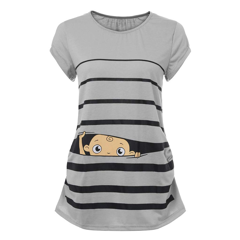 Woman Maternity T-Shirt,Stripe Baby Print Short Sleeve Ruched Side Top, Pregnancy Funny Fashion Style Blouse (Gray, L)