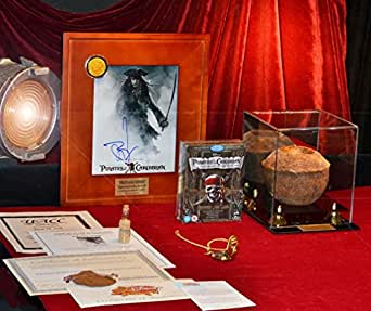 JOHNNY DEPP Signed PIRATES OF CARIBBEAN, Screen-used Disney Prop COCONUT & COIN, DVD, COA