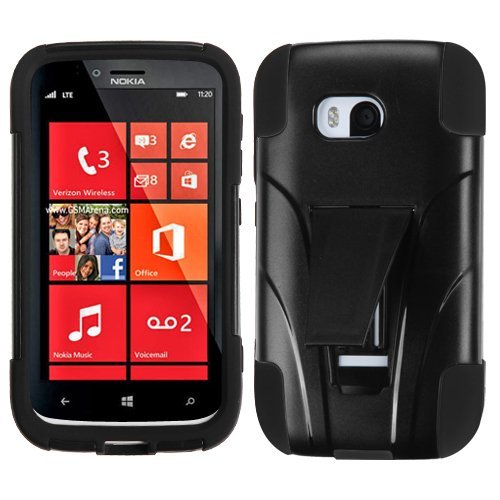 Stylus Phone Nokia (Bundle Accessory For Verizon Nokia Lumia 822 - Black Hybrid Case with Stand+ Lf Stylus Pen + Lf Screen Wiper)