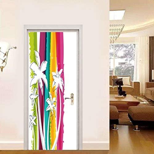 Vosarea 1 unids Flor Blanca Renovación Puerta Pegatina Mano Colorida Dibujado Patrón Etiqueta Escaparate: Amazon.es: Hogar