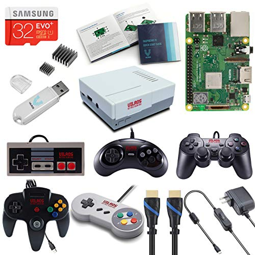 V-Kits Raspberry Pi 3 Model B+ (B Plus) Retro Arcade Gaming Kit with Retro Gaming Set-Includes: Retro Gaming Controller Set (NES-SNES-N64-PS2-SEGA GENASIS)