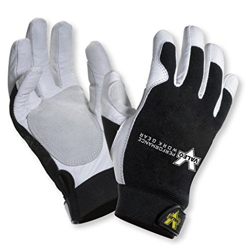 All Gloves Purpose (Valeo Industrial V255 Leather All-Purpose Utility Work Gloves with Stretch Back, VI3732, Pair, White, Small)