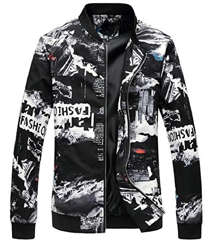5 Spring Bomber Men's Zipper Sleeve Long Jackets security Floral Print pvBwxqnZ